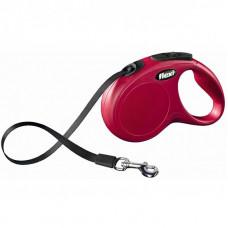 Flexi Поводок-рулетка лента New Classic M-L, 5м до 50кг, красная