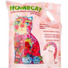 Впитывающий наполнитель Homecat, силикагелевый, с ароматом розы, 7.6 л