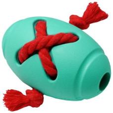 Homepet Silver Series игрушка для собак мяч регби с канатом бирюзовый каучук ф 8 х 12,7 см