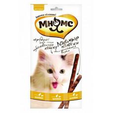Лакомство для кошек Мнямс Лакомые палочки Цыпленок, печень, 5 г х 3 уп.