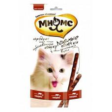 Лакомство для кошек Мнямс лакомые палочки 13,5 см с говядиной и печенью, 3х5 г