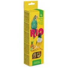 Лакомство для волнистых попугайчиков и экзотов RIO,палочки с тропическими фруктами, 80 г